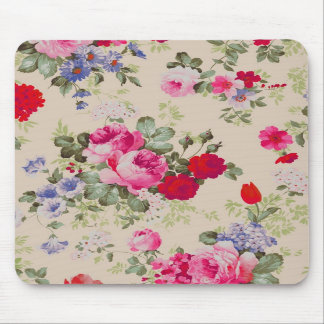 Red Blue Roses Flower Collage Mouse Pad