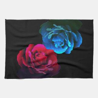 Red & Blue Roses Tea Towel