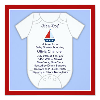 Red Blue Sailboat Baby Boy Shower Invitation