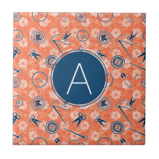 Red Blue Sewing Pattern with Monogram Tile