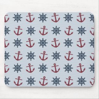 Red Blue Ship Wheel Anchor Pattern Mouse Pads