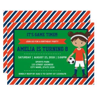 Red Blue Tan Girl Soccer Birthday Invitation