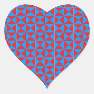 Red Blue Triangle Pattern Heart Sticker