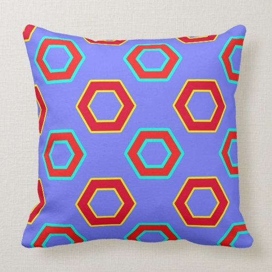 Red & blue, Vector Hexagon Pattern Cushion