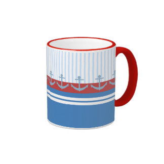 Red Blue White Anchors and Stripes Mug