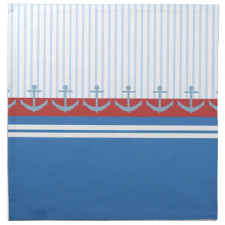 Red Blue White Anchors and Stripes Napkin