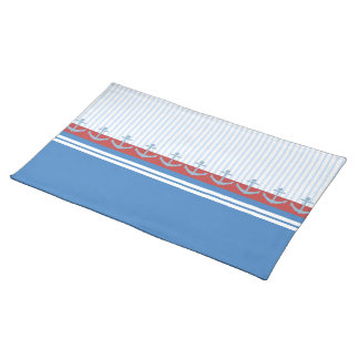Red Blue White Anchors and Stripes Placemat