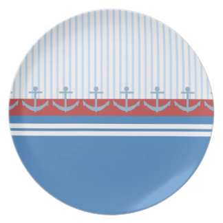 Red Blue White Anchors and Stripes Party Plate