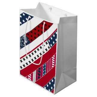 Red blue white national Patriotic background . Medium Gift Bag