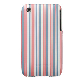 Red Blue White Stripes Pattern iPhone 3 Cover