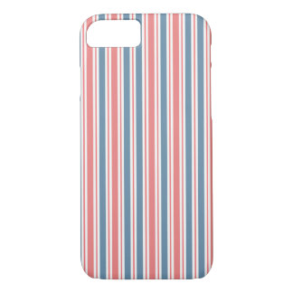 Red Blue White Stripes Pattern iPhone 7 Case