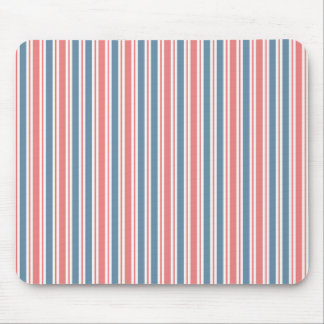 Red Blue White Stripes Pattern Mouse Pad