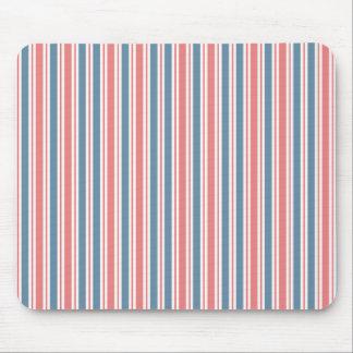 Red Blue White Stripes Pattern Mousepad