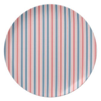 Red Blue White Stripes Pattern Party Plate