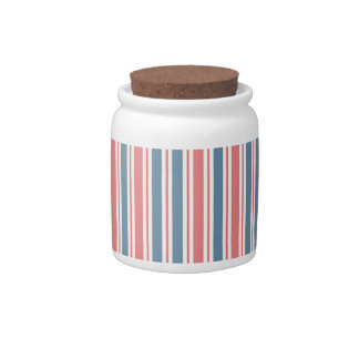 Red Blue White Stripes Pattern Candy Jar