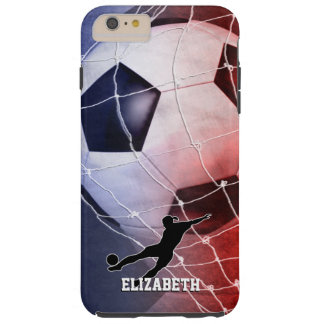 Red blue women's soccer player kicking goal tough iPhone 6 plus case