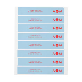 Red & Blue | Wrap Around Wedding Address Label