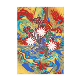 Red Blue Yellow Mixed Media Flora Canvas