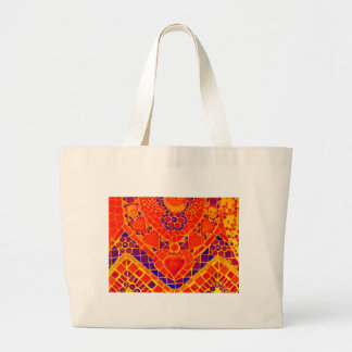 red blue yellow reverse mosaic large tote bag
