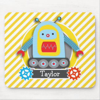 Red, Blue, & Yellow Robot; White Stripes Mouse Pads
