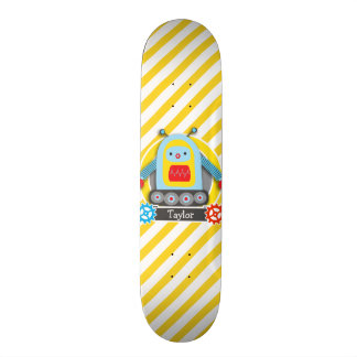 Red, Blue, & Yellow Robot; White Stripes Skateboards
