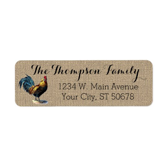 Red Blue Yellow Rooster On Faux Jute Burlap Return Address Label