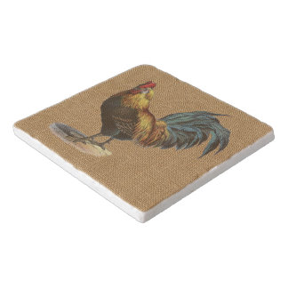 Red Blue Yellow Rooster On Faux Jute Burlap Trivet