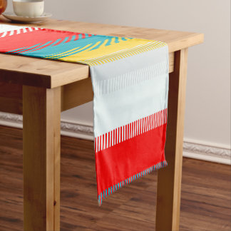 Red Blue Yellow White Gray Chic Unique Pattern Short Table Runner