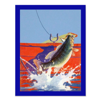 RED BOAT w/ FISH ON ~ RETIREMENT PARTY INVITATION! 11 Cm X 14 Cm Invitation Card
