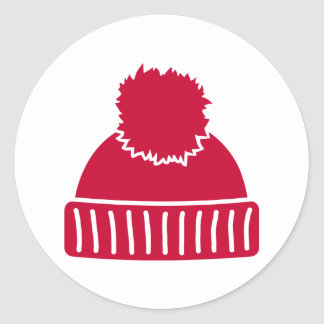 Red bobble hat classic round sticker