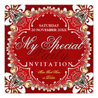 Red Bohemian Special Party Invitation