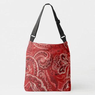 Red Boho Chic Retro Hippy Paisley Bandanna Crossbody Bag