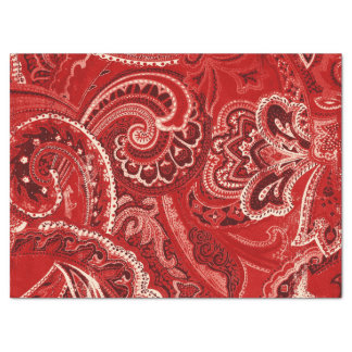 Red Boho Chic Retro Hippy Paisley Bandanna Tissue Paper