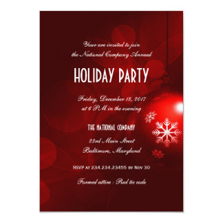 Red Bokeh Christmas Ornament Office Holiday 13 Cm X 18 Cm Invitation Card