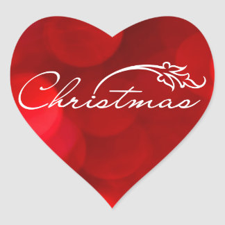 Red Bokeh Christmas Heart Stickers