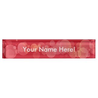 Red Bokeh Circles Desk Nameplate
