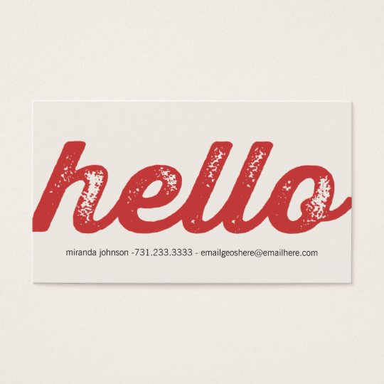 Red Bold Hello Design Calling Cards