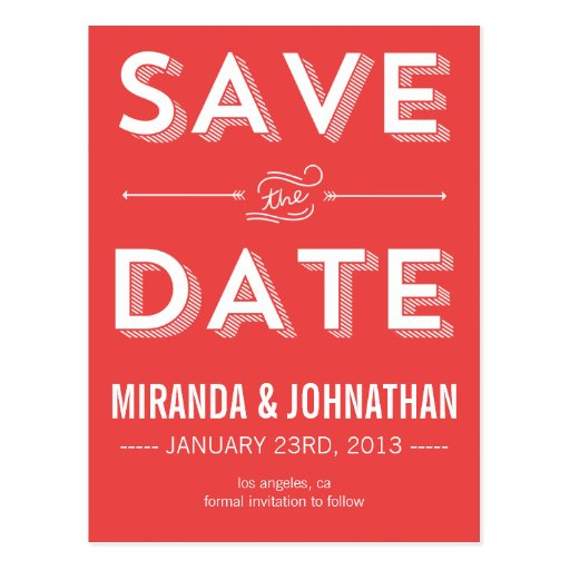 Red Bold Save The Date Post Cards
