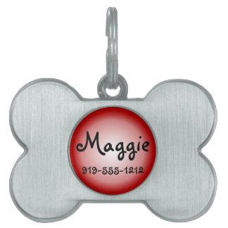 Red Bone Shaped Customizable Name Dog Tag