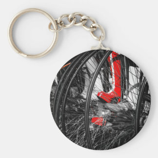 Red Boot in Penny Farthing Stack Key Chain