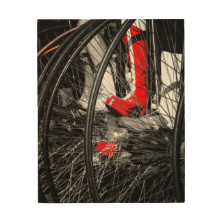 Red Boot in Penny Farthing Stack Wood Canvases