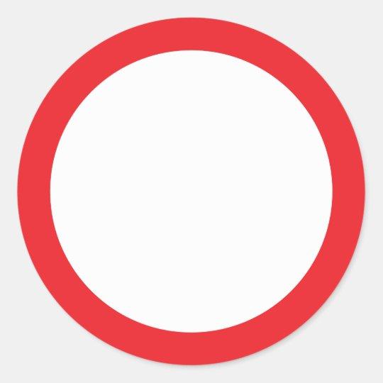 Red border blank classic round sticker