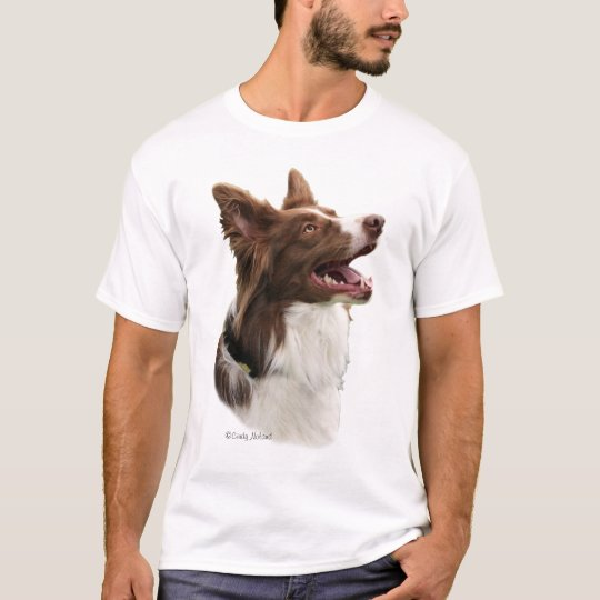 Red Border Collie head on t-shirt