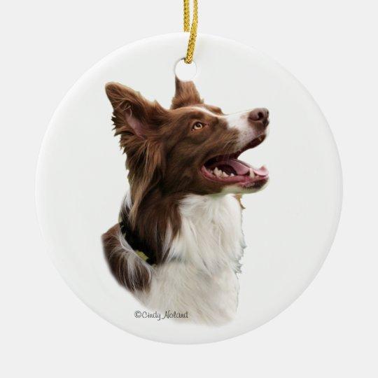 Red Border Collie Head Ornament