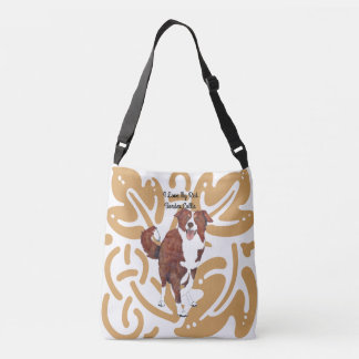 Red Border Collie on old gold print Crossbody Bag