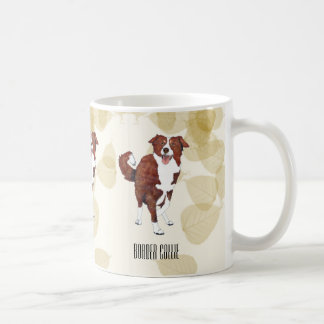 Red Border Collie Tan Leaves Coffee Mug
