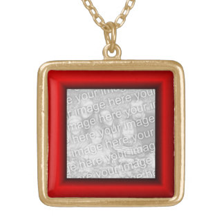 Red Border Gold Plated Necklace