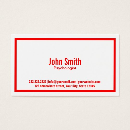 Red Border Psychologist Business Card