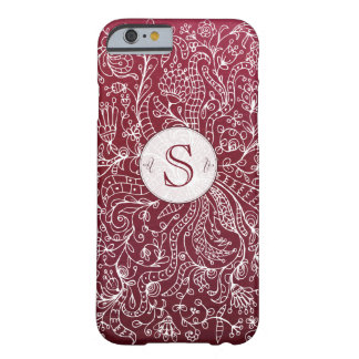 Red Bordo Floral Art Custom Monogram iPhone 6 Case Barely There iPhone 6 Case