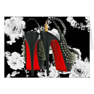 Red Bottom Spike Heels Romantic Rose Card